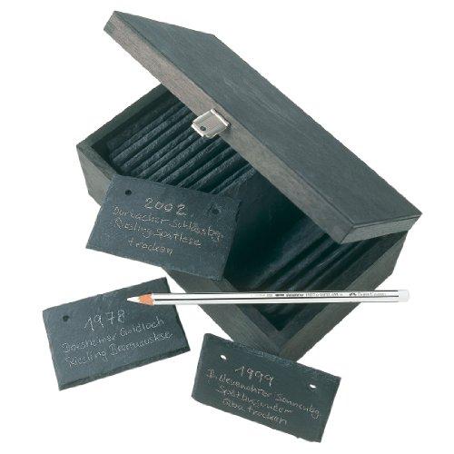 Beschriftungssystem/Schiefertafeln zum Beschriften - u. a. für Weinflaschen und Weinregale - 25 Schiefertafeln in Holzkiste
