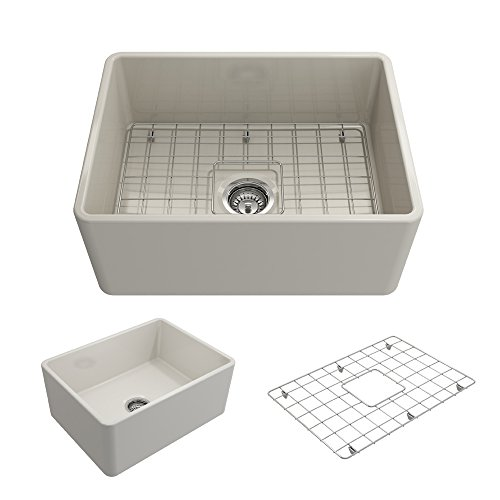 BOCCHI 1137-001-0120 Classico Apron Front Fireclay 24 in. Single Bowl Kitchen Sink with Protective...