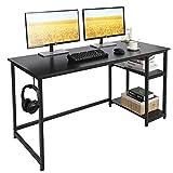 AuAg Computertisch 140 x 60 cm Schreibtisch mit Regal und Haken Bürotisch PC Laptop Tisch für Schule, Stabil Office Tisch Arbeitstisch Größer Arbeitsplätze Workstation Modern Home Office Desk, Schwarz