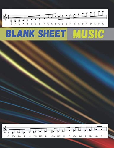 Blank Sheet Music SATB Vocal Score Music Paper, Abstract colorful fluid wave liquid background cover, 100 pages - Large(8.5 x 11 inches)