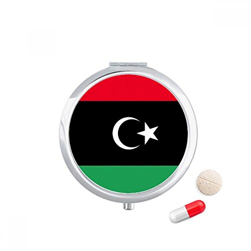 DIYthinker Libië Nationale Vlag Afrika Land Reizen Pocket Pill case Medicine Drug Storage Box Dispenser Spiegel Gift