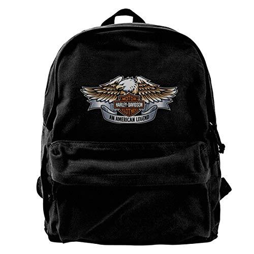 N/A Harley Davidson - Zaino classico in tela, per la scuola, per studenti e camminate