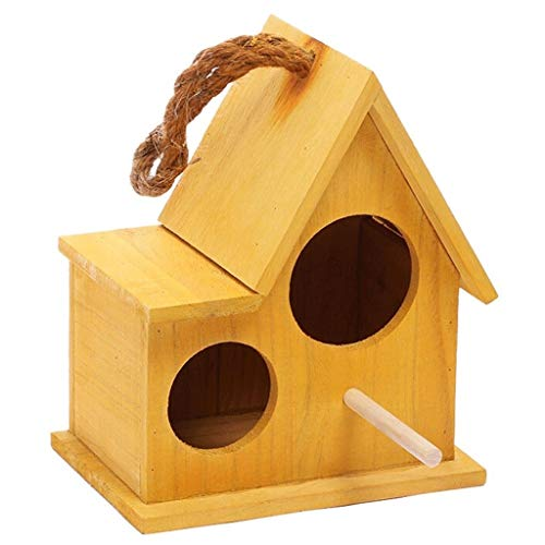 Birdhouses/Bird Cage Parrot Pearl Bird Bird Cage Creative Pet Supplies Small Number Brown Bird Cages for Small Birds (Color : Yellow, Size : S)