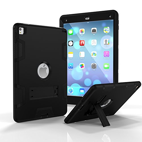 iPad Air 2 Case,iPad 6 Case, Dooge Three Layers PC&Silicon Armor Defender Heavy Duty Shock-Absorption Rugged Hybrid Full Body Protective Case with Kickstand for Apple iPad Air 2/iPad 6 (2014 Model)