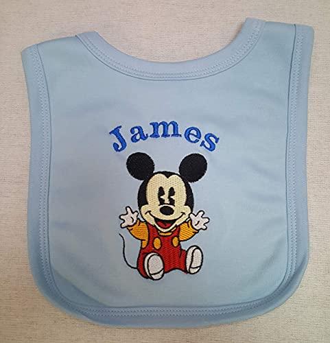 Personalizado Mickey Mouse Babero Niño o Niña Rosa Azul O Blanco Bebé Bautizo Regalo - Azul