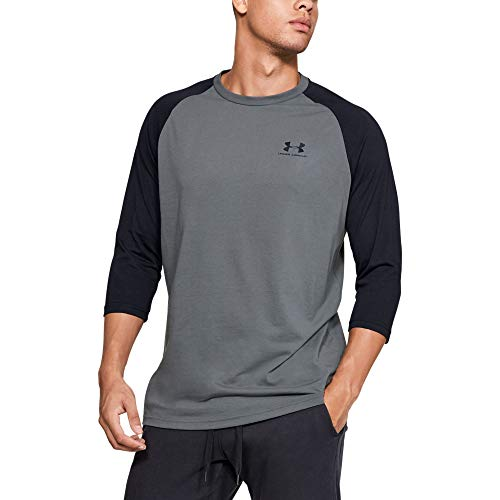 Under Armour Men's Sportstyle Left Chest 3/4 Tee, Pitch Gray (013)/Black, Small