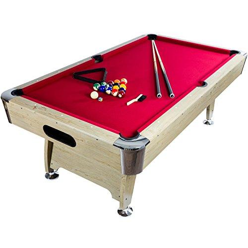 """Maxstore 7 ft Billardtisch Premium"""" + Zubehör, 9 Farbvarianten, 214x122x82 cm (LxBxH), helles Holzdekor, rotes Tuch"""