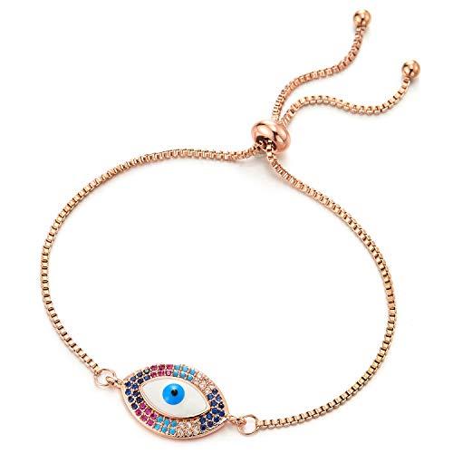 COOLSTEELANDBEYOND Damen Rose Gold Edelstahl Box-Ketten Gliederkette Armband mit Bunter Zirkonia Schutzes Bösen Blick, Verstellbare