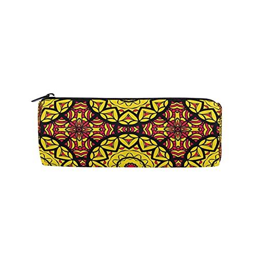 JNlover - Estuche redondo para lápices, diseño de mandala, diseño floral tribal