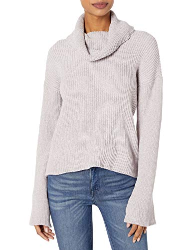 cupcakes and cashmere Women's Greenwich Marled chenile Rib Knit Turtle Neck, Faded Lilac, Large