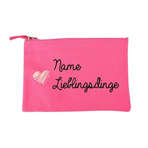 Herz & Heim® Kometiktasche in Pink - Lieblingsdinge - mit Aufdruck des Namens
