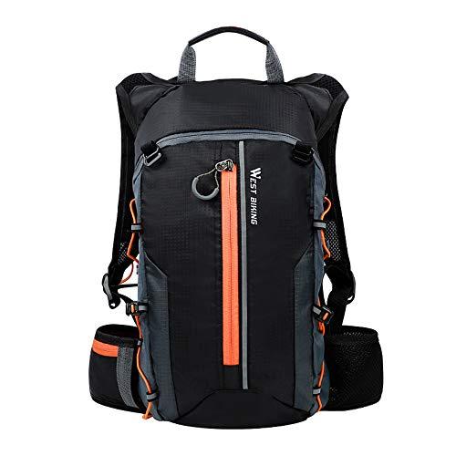 10L Licht Fahrradrucksack Multifunktionaler Outdoor Rucksack Wasserdicht Ultraleicht Hydration Rucksack für Herren/Damen Radsport Camping Wandern und Laufen (Orange)