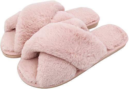 AONEGOLD Ciabatte da Casa Donna Invernali Warmer Peluche Pantofole Croce Morbido Open Toe Pantofole di Pelliccia Antiscivolo Scarpe(Rosa,Taglia 36-37)