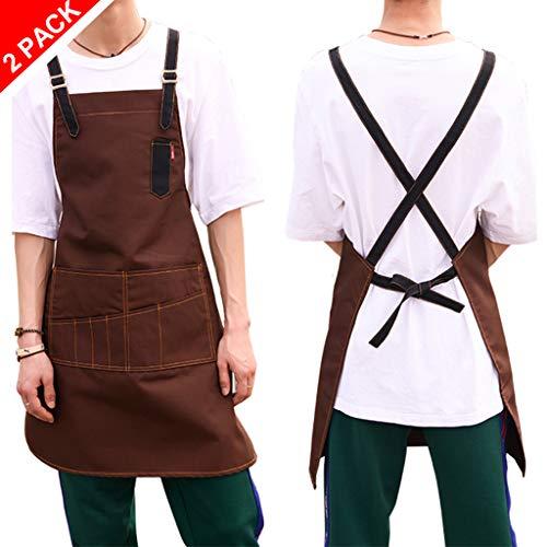 Schort met zakken Kookschort voor vrouwen mannen Chef -kookschort BBQ-schort met de door u gewenste naam en motief naar keuze 2xbrown
