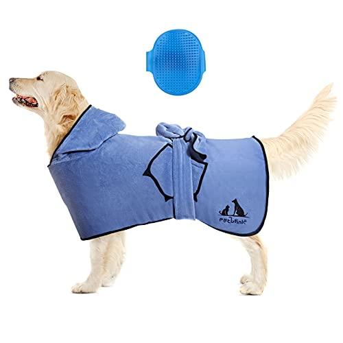 Petbank 3 in 1 Hundebademantel Verstellbarer Riemen, 2PCS Hundehandtuch, Dryup Cape mit Kapuze und Taschen, Bademantel Hund mit 1 Haustierbürste, M(19inch/50cm Rückenlänge), Blau