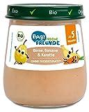 FRECHE FREUNDE Freunde Bio Gläschen Birne, Banane & Karotte, für Babys ab 5 Monaten, ohne Zucker- und Salzzusatz, vegan, 6er Pack (6 x 120g)