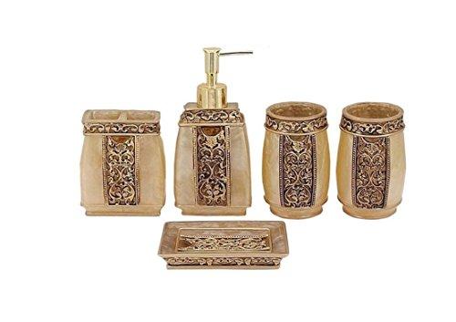 Yiyida Juego de baño de Resina Estilo rústico 5 Piezas de Accesorios de baño dispensador de jabón Cepillo de Dientes Soporte Vaso jabonera