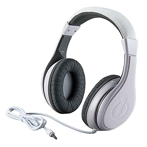 eKids Kids Headphones, Stereo Sound, 3.5mm Jack Cord, Wired Headphones for Kids, Tangle-Free, Volume Control, Childrens Headphones Over Ear for Travel White