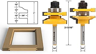 Yonico 12243q Ogee 2 Bit Rail and Stile Router Bit Set 1/4-Inch Shank