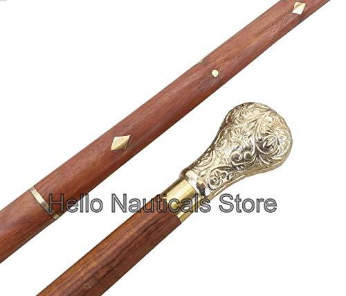 Nautical.Gift.Decor Hand Made Victoriaanse Klassieke Stijl Wandelstok Rietje Messing KNOB Bruiloften Gent Gentleman ELM Hout Mason Masonic