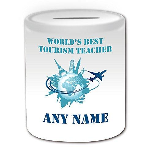 Gepersonaliseerd geschenk - 's Werelds beste leraar toerisme / Global Skyline Money Box (Academic Design Theme, wit) - Elke naam/bericht op uw unieke - Spaar Piggy Bank - School College University - Vliegtuig vlucht