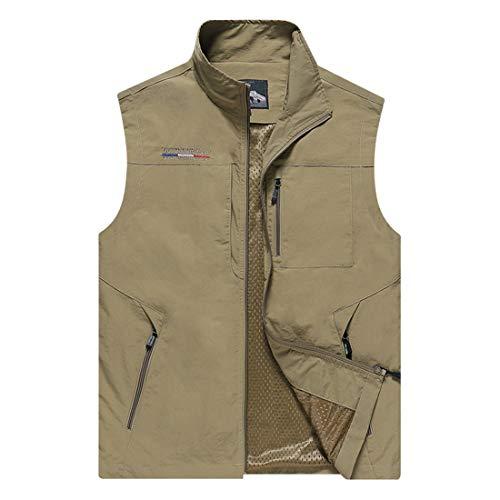 Chalecos, al aire libre Ligera chaqueta ocasional del chaleco con bolsillos de múltiples, de múltiples funciones del viaje trabajo Chaleco de pesca Foto Safari Deportes (primavera y verano),Marrón,5XL