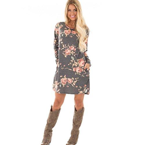 Kleid Damen Floral bedrucktes Kleid Sweatshirt Langarm Minikleid Abendkleid Hoodie Cocktailkleider Herbst Winter Kleid Kurzarm Kleider Strandkleid Partykleider LMMVP (M, Grau)