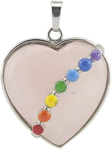 Collar Mujer Collar Hombre Cadena de piedra de cristal Cuarzo Piedra curativa Colgante de piedra de cristal Corazón de cuarzo con 7 Chakras La mejor joyería de cristal para mujeres Hombres-Cuarzo rosa