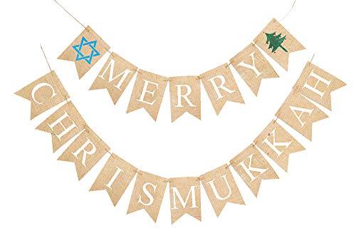 Merry Chrismukkah Banner | Christmas and Hanukkah Decorations
