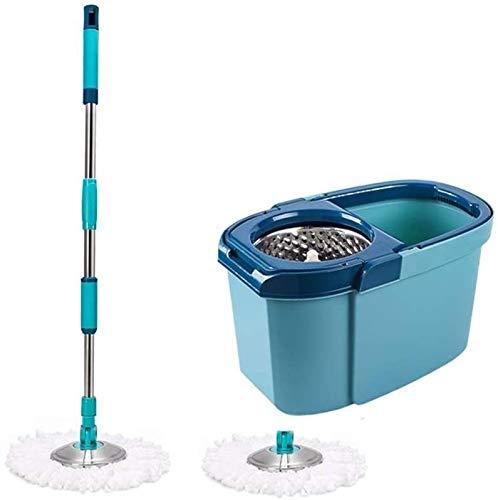 LBWARMB Trapeadores Limpieza doméstica Artifact Spin Mop Bucket Conjunto con Cesta de Drenaje de Acero Inoxidable y 2 Microfibra Extra para la Limpieza del Piso de la casa