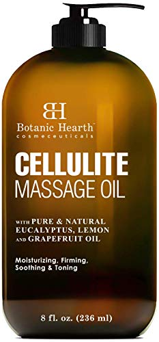 Botanic Hearth Anti Cellulite Massage Oil - Cellulite Oil for Thighs and Butt Firming - Unique Blend of Massage Essential Oils - Improves Skin Tone, Skin Firmness & Tightness - 8 fl oz