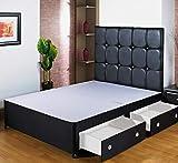 Home Furnishings UK Hf4You Black Divan Base - 5Ft Kingsize - 2 Drawers - Foot End - No Headboard