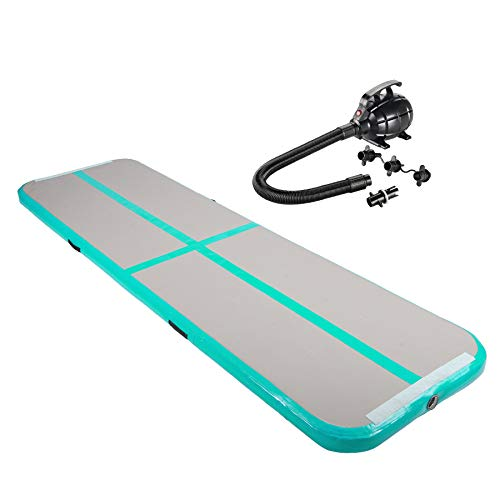 Pinty 10ft Airtrack Tumbling Mat, Air Tumbling Floor Mat for Gymnastics/Yoga/Taekwondo/Water Floating/Camping Training with Electric Pump, Perfect for Home Use, Beach, Park and Pool - Green