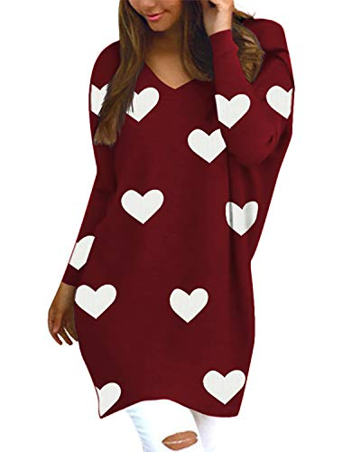 Style Dome Pullover Damen Herz Floral Casual Langarm Longpullover Bluse Loose Tunika Rot S