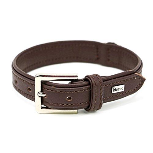 Biozoo leren halsband Provence voor honden, 1,5 x 0,1 x 35, Bruin