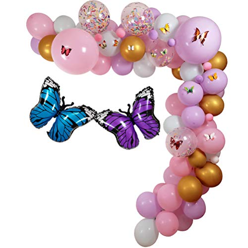 100 Pack Butterfly Party Decoration Garland Kit, 18' 10' 5' Mylar Balloon Latex Balloons Birthday Wishes and Butterfly Kiss for Kids Birthday Party Supplies