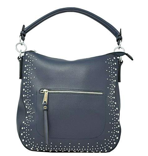 Dudlin Damen Handtasche Tasche Umhängetasche Vegan Verzierung Nieten Strass JL1205335 (Blau)