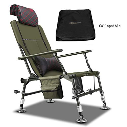 Fischerstühle Angeln Stuhl Tragbare Camping-Stuhl Liegestuhl Licht Aufzug Stuhl Gelände Stuhl Liegestuhl Senden Rucksack (Color : Green, Size : 58 * 80 * 100cm)