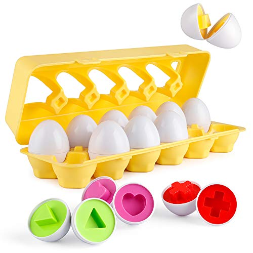Letters Matching Eggs Easter 26PCS ABC Alphabet Color Recoginition Sorter Puzzle Easter Travel Bingo Game Uppercase Learning Educational Fine Motor Skill Montessori Gift for Year Old Toddler Kid