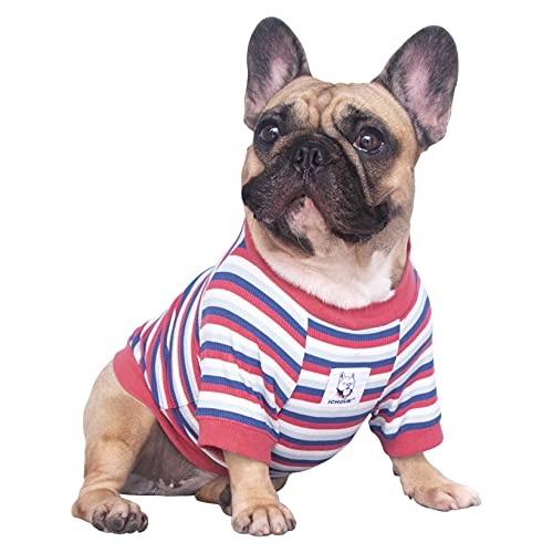 iChoue High Stretchy Dog Shirts for Medium Dogs Tank Top Vest Clothes French Bulldog Frenchie Pug English Pitbull Boston Terrier Red Stripe - M