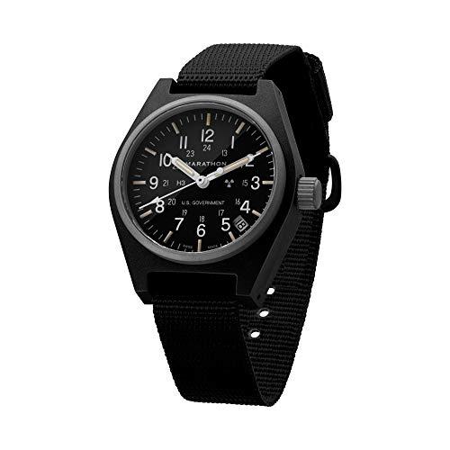 Marathon General Purpose Quartz Swiss Made Military Field Army Watch with Date (GPQ), Tritium, and Sapphire Crystal (34mm, Black) WW194015-BK