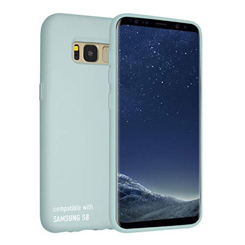 smartect Cover in Silicone per Samsung Galaxy S8 - Aderenza Perfetta - Superficie Morbida Antiscivolo - Linee Interne Morbide - Case Silicone Verde Acqua