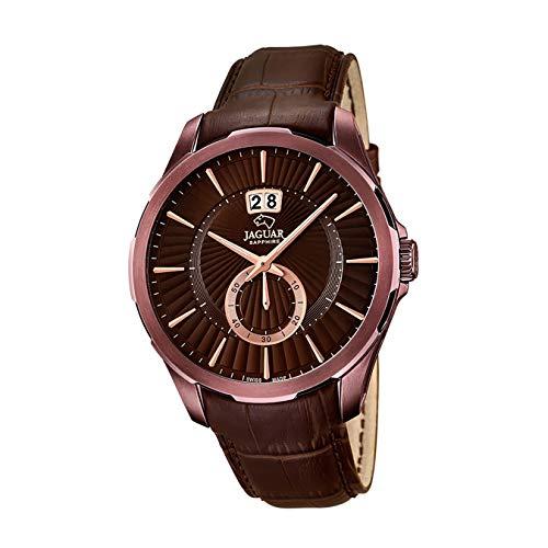 JAGUAR Reloj de Pulsera para Hombre, Elegante, analógico, Correa de Piel marrón, Reloj de Cuarzo, Esfera de Bronce, UJ684/1