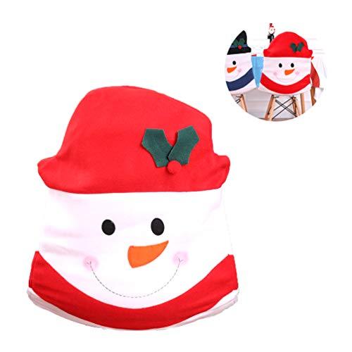 Couvertures à Chaise à Noël, Tissus Non Tissés Couverture à Chaise à Bonhomme à Neige, Manchons à Couverture à Chaise Anti-Rayures pour Chaises à Salle à Manger à Fête - Rouge