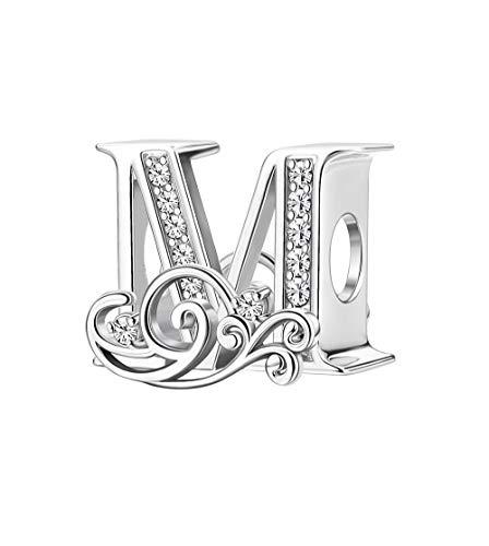 スワロフスキージルコニアビーズ付きSllaiss セット 925スターリングシルバー ウェーブレターチャーム レディース メンズ ホワイトゴールドメッキ A~Z アルファベットイニシャルビーズチャーム ヨーロピアンブレスレットネックレスにフィット シルバー