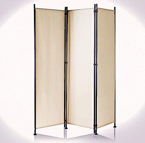IMC Paravent 3-teilig Cappuccino Raumteiler Trennwand Sichtschutz, faltbar/flexibel verstellbar, wetterfester Polyester-Stoff, Schwarze Metallstangen