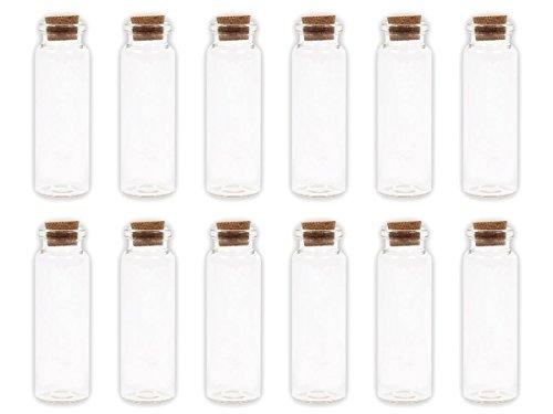 Alsino 20 Stück Leere Mini Glasfläschchen Schnapsflaschen Gewürzgläser mit Korken, 2 x 7 cm, 14 ml, Pflanzensamen, Gewürzdose, Hochzeitsgeschenk, Deko-Accessoire, GF-04