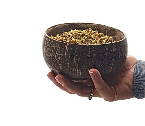 VIE Kokosnuss Schüsseln und Löffel Set, Schwarz, 2er - 7