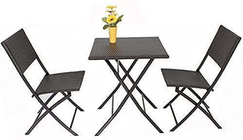 WANGQW Juego de sillas de Mesa de conversación de Patio, Mesa de ratán y Silla al Aire Libre Combinación de Ocio Patio de Ocio Balcón Jardín Mesas y Sillas Muebles de Rattan Villa
