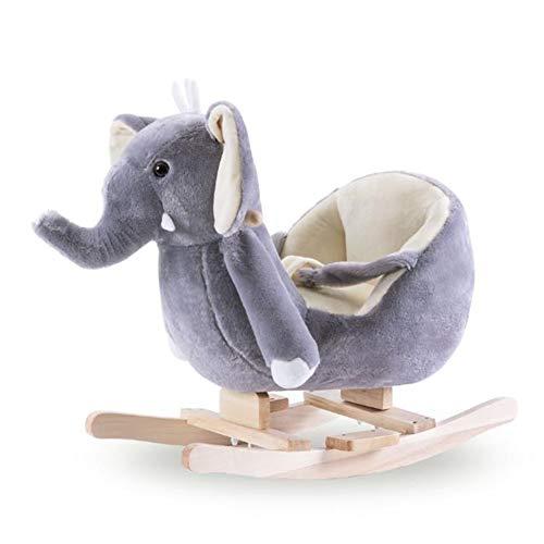 Y-yaoyi Cavallo Dondolo Legno, Dondolo Bambini di Elefante Blu per 1-3 Anni, 2-in-1 Giochi Cavalcabili Bambini con Ruote, Elefantino Dondolo Cam/Dondolo Ruote